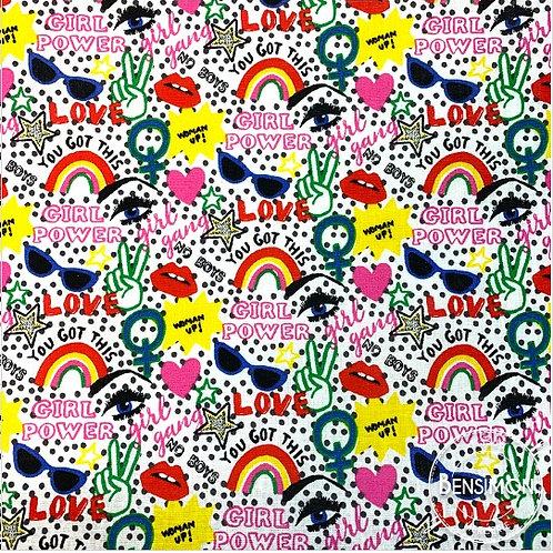 Tissu coton imprimés - Girl Power pop art X 50cm