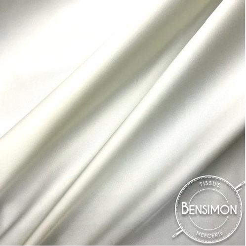 Tissu satin cocktail extensible - Blanc Naturel X 50cm