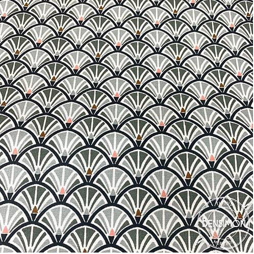 Tissu coton imprimés enduit - Eventail gris jacinthe X 50cm