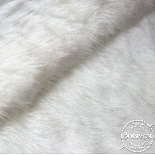 Tissu effet Fourrure poils courts - Blanc X 50cm