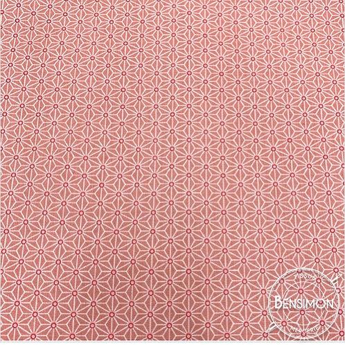 Tissu coton imprimés - Motifs japonais Saki rose X 50cm