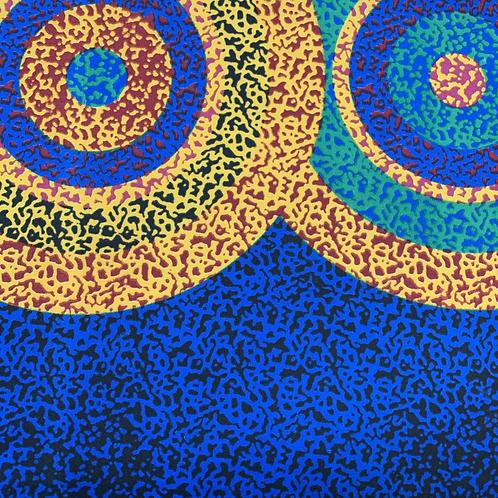 Tissu imprimé WAX - Motifs ronds bleu