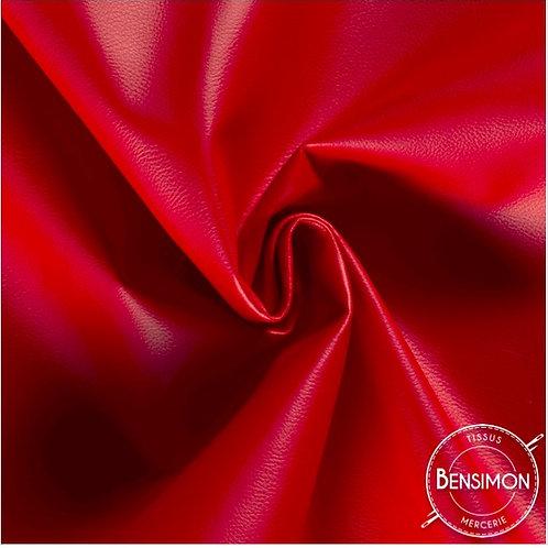 Tissu Simili Cuir Grainé - Rouge X 50cm