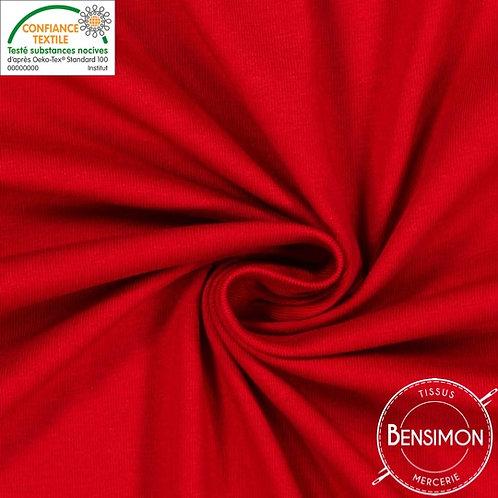Tissu Jersey coton léger - Rouge X 50cm