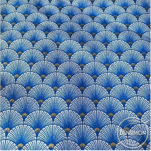 Tissu coton imprimés - New Eventails lurex - Bleu & Or X 50cm