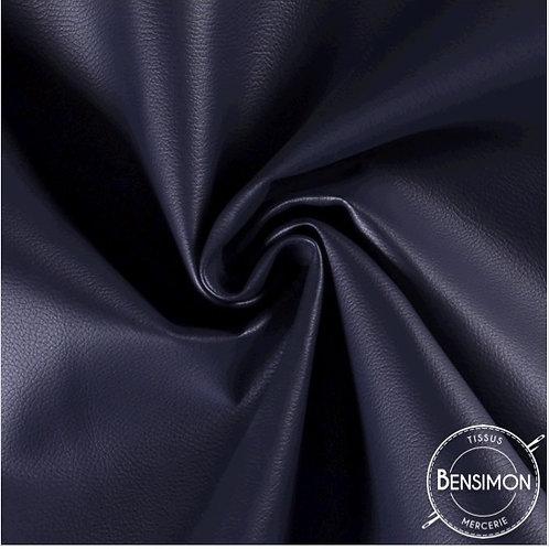 Tissu Simili Cuir Grainé - Bleu Marine X 50cm