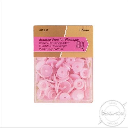 Boutons pression plastique 12mm Rose Layette X 30