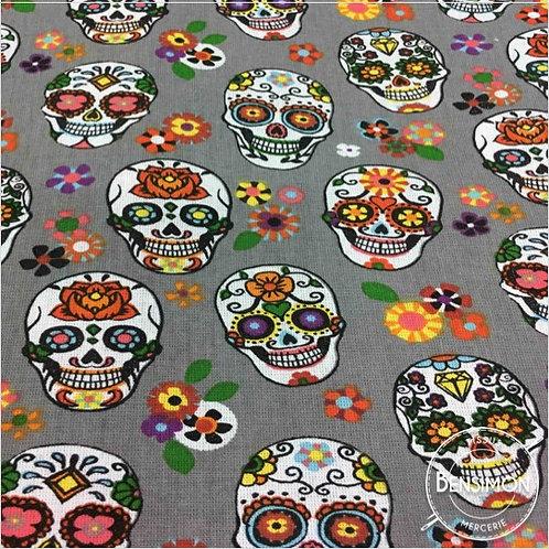 Tissu coton imprimés - Tête de mort Skull Gris X 50cm