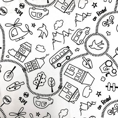 Tissu coton imprimés à colorier - Sur la route X 50cm