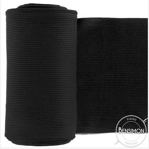 Tissus bord côte tubulaire - Noir X 50cm