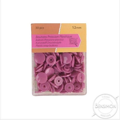 Boutons pression plastique 12mm Vieux Rose X 30