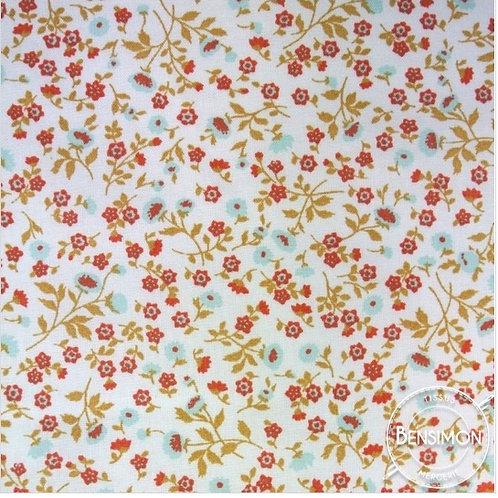 Tissu coton imprimés - Liberty London Elenie - Rouge Celadon X 50cm