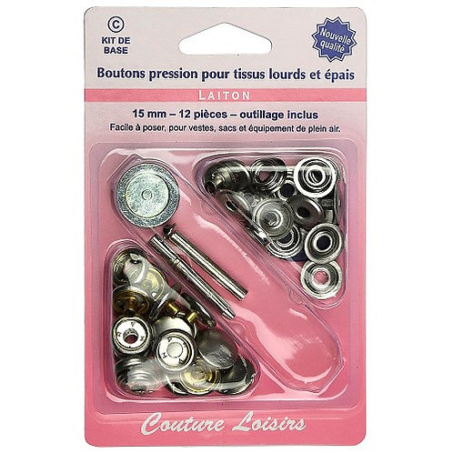 Boutons pression 15mm - Avec outillage X 12