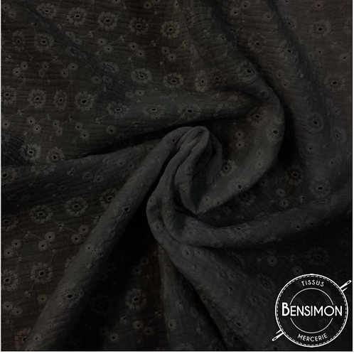 Double gaze coton Broderie Anglaise  - Noir X 50cm