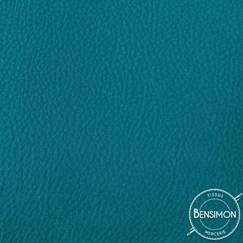 Tissu Simili Cuir Grainé - Pétrole X 50cm