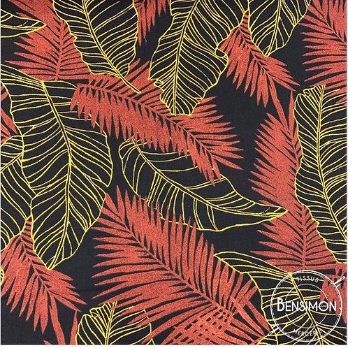 Tissu coton imprimés - Feuillages Anaga rouge moutarde X 50cm