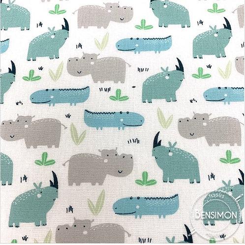 Tissu coton imprimés - Rhino vert de gris X 50cm