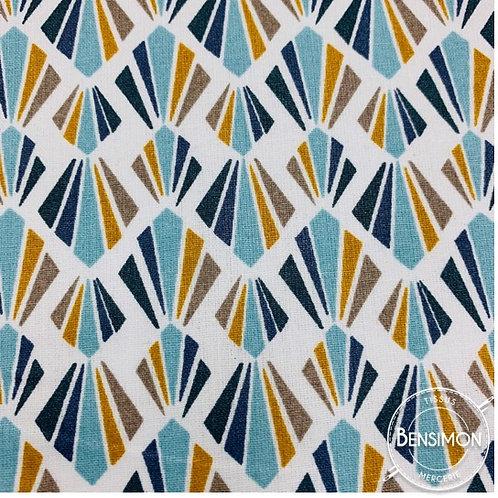 Tissu coton imprimés enduit - Payani moutarde X 50cm