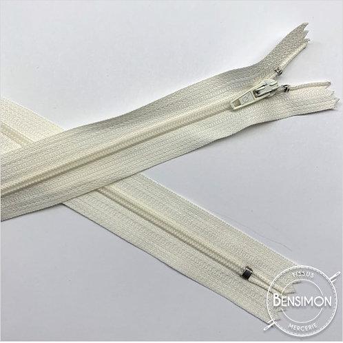 Fermetures nylon 3mm non séparables - Ecru 20 à 60cm