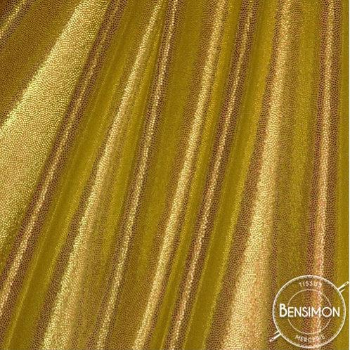 Tissu extensible Lycra stretch lamé brillant pailleté justaucorps académique doré or