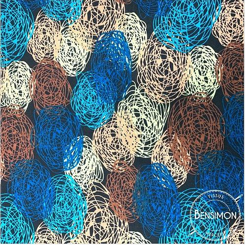 Tissu coton viscose imprimée - Motifs ronds tissé bleu X 50cm