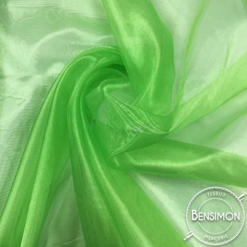 Tissu Organza - Vert anis X 50cm
