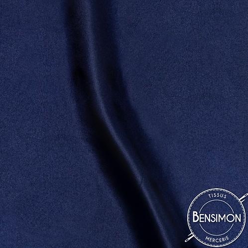 Tissu satin uni léger - Bleu Marine X 50cm