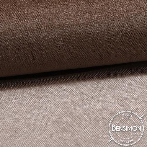 Tissu Tulle souple grande largeur - Marron Peat X 1M