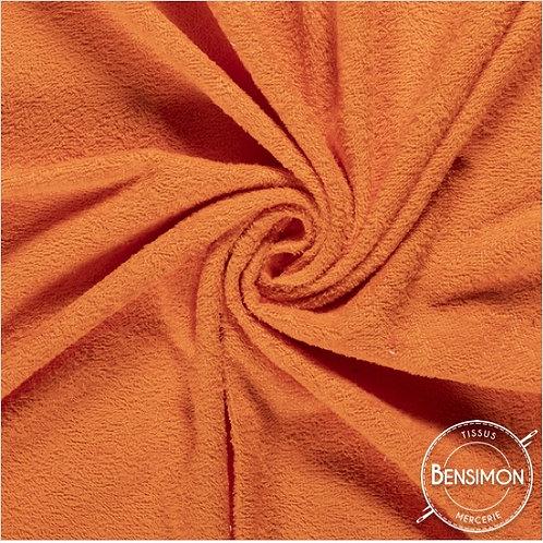 Tissu éponge coton OekoTex - Orange X 50cm