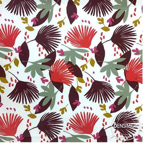 Tissu coton imprimés enduit - Feuillages Saori prune X 50cm