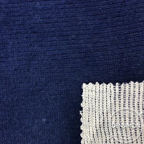 Tissu Molleton sweat côtelé - Bleu X 50cm