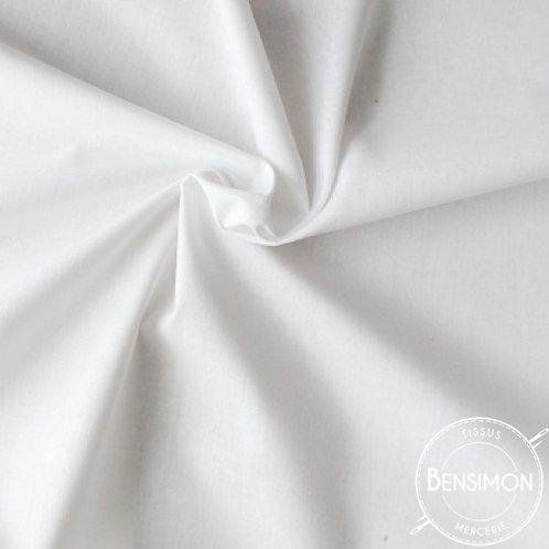 Tissu Coton uni Popeline - Blanc X 50cm