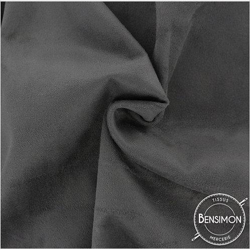 Tissu Suédine épaisse unie - Gris Anthracite X 50cm