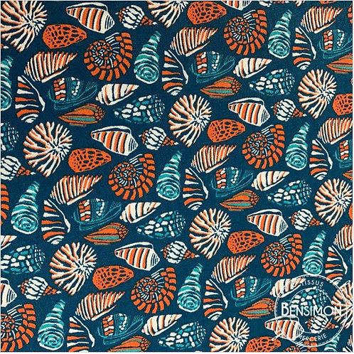 tissus coton imprimé oekotex coquillages émeraude pétrole orange