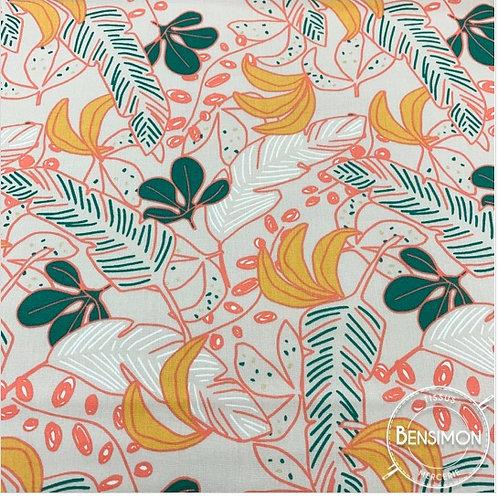 Tissu coton imprimés - Feuillages Poyo corail et or X 50cm