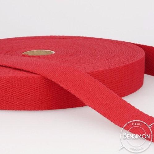 Sangle 100% coton 30mm rouge
