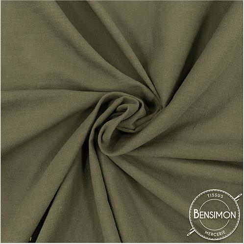 Tissu crêpe de coton uni - Kaki X 50cm