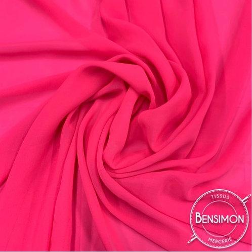 Tissu Mousseline - Rose fluo X 50cm