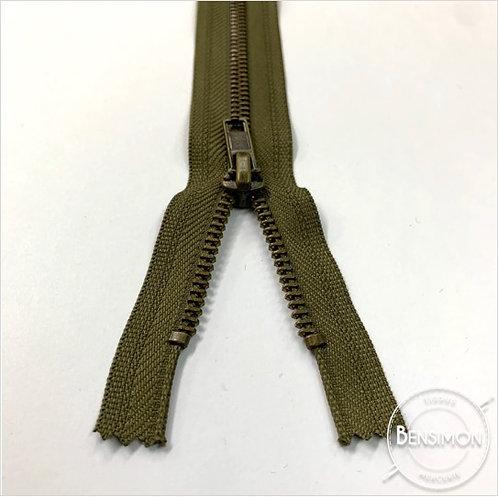 Fermeture métal 5mm non séparable - Kaki