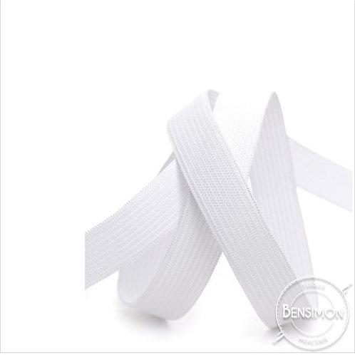Élastique plat tissé 15mm - Blanc ou Noir