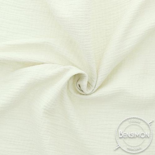 double gaze coton oekotex ecru blanc cassé