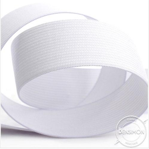 Élastique plat tissé 30mm - Blanc ou Noir