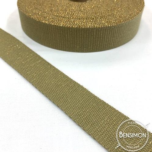 Sangle lurex pailletes 30mm beige or doré