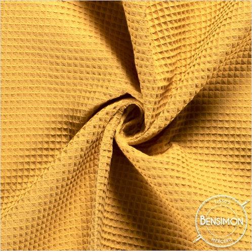 Tissu éponge nid abeille OekoTex - Moutarde X 50cm