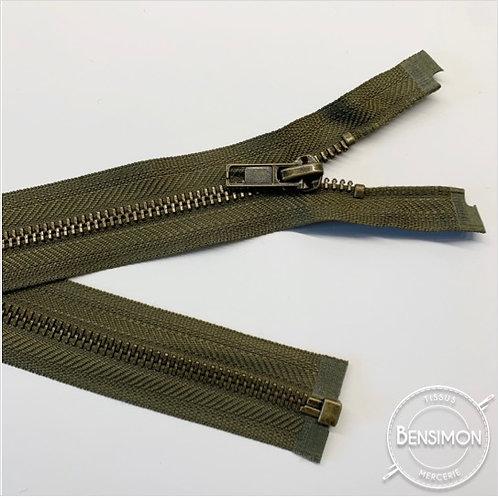 Fermeture métal 5mm séparable - Kaki