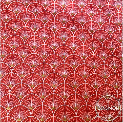 Tissu coton imprimés - New Eventails lurex - Rouge & Or X 50cm
