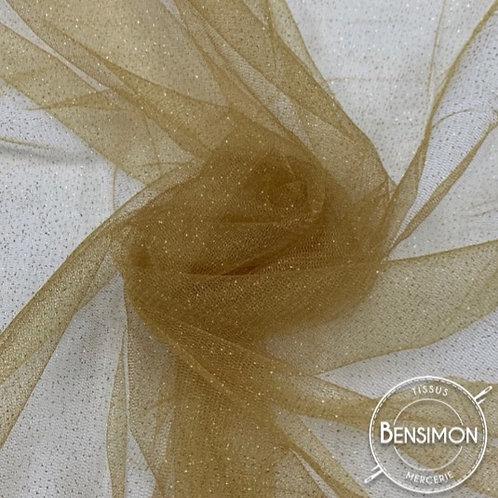 Tissu Tulle à paillettes - Jaune d'or X 1M