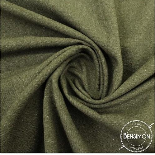 Tissu natté toile lourde - Kaki X 50cm