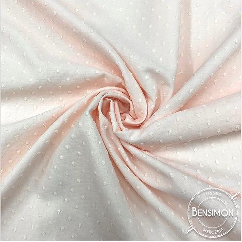Tissu popeline coton plumetis - Rose layette X 50cm