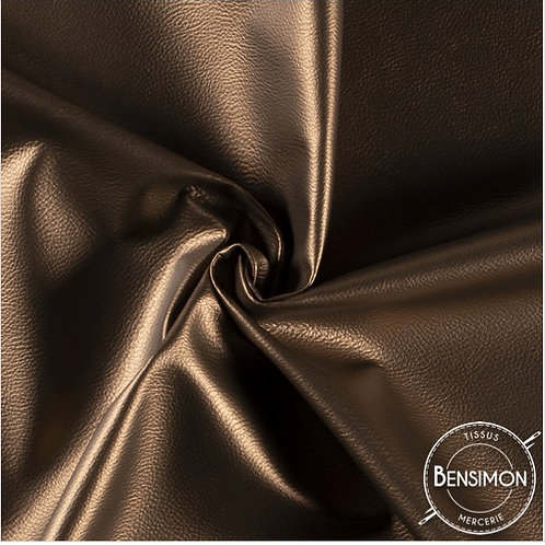 Tissu Simili Cuir Grainé - Bronze X 50cm